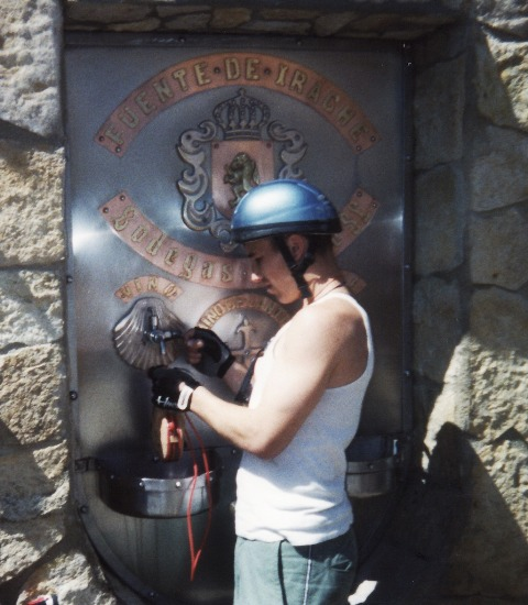 camino de santiago wine fountain